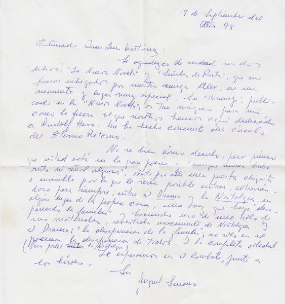 Letter from Miguel Serrano
